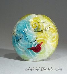 Moon Face Focal bead lampwork by Astrid Riedel 42 by AstridRiedel, $115.00
