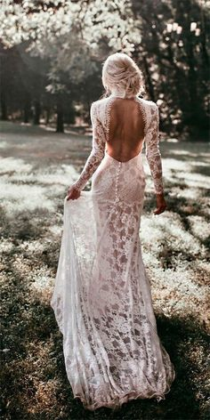 backless wedding dress mermaid open backs lace button wedding dresses with long sleeves Coral Dress Wedding, Ruched Wedding Dress, Wedding Dress Buttons, How To Dress For A Wedding, Backless Wedding, Wedding Dress Sleeves, Long Sleeve Wedding, Modest Wedding Dresses, Colored Wedding Dresses