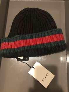 242f3e58dd5d85 BNWT GUCCI Black Ribbed Wool Beanie Hat Size M - RRP 250  fashion  clothing