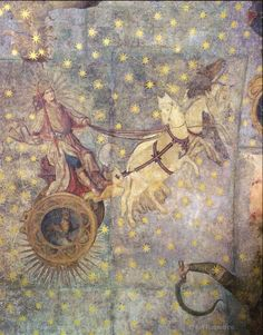 The Chariot of JOVE, zodiac fresco, 16th century, cupola of the Old Library, University of Salamanca, Spain