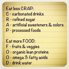 Eat Less CRAP. Eat more FOOD.