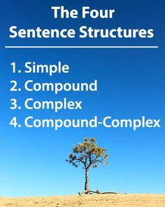 The 4 Sentence Structures: 1. Simple 2. Compound 3. Complex 4. Compound-Complex Learn more --> www.GrammarRevolution.com/sentence-structure.html