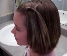 Little Girls' Hairstyles: Front Twist Back for Short Hair & Bangs