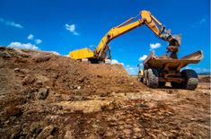 Industrial excavator loading soil material from highway construction site into a dumper truck Stock Photo , Training Center, Vintage Greeting Cards, Heavy Equipment, Monster Trucks, Construction, Stock Photos, School, Industrial, Posts