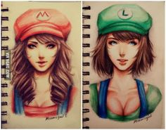 Drawing my own version for Super Mario and Luigi In female form. Who will you choose?