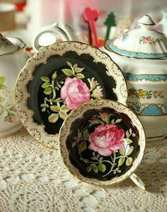 TEA CUP AND SAUCER, LOVE THE PINK ROSE
