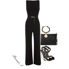 black jumpsuit and striped sandals with animal-print trim