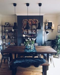 42 Best Dining Room Lighting Ideas For 2019 - Home Decorating Inspiration Dining Room Wall Decor, Dining Room Design, Lounge Decor, Dining Room Lighting Rustic, Kitchen Living, Home Living Room, Dining Living Room Combo, Dining Room Inspiration, Sweet Home