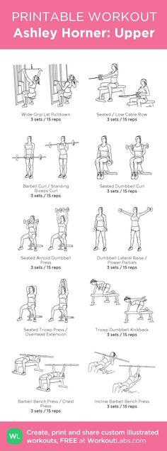Ashley Horner: Upper · WorkoutLabs Fit - Upper body workout at gym - Fitness Workouts, Fitness Motivation, Fitness Goals, Bodybuilding Training, Bodybuilding Workouts, Mental Training, Weight Training, Training Plan, At Home Workout Plan