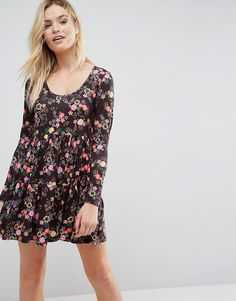 7176ed5a19b ASOS Mini Smock Dress with Panels in Black Floral Print - Multi