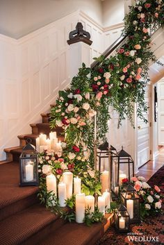 Stunning staircase with flowers and candles