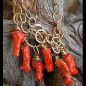 Hammered Brass and Polished Coral