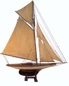 A gaff-rigged pond yacht