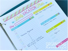 Daily Vacation Plans Printable