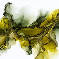 Olive and Green Abstract Alcohol Ink Painting by Kristy Swanson
