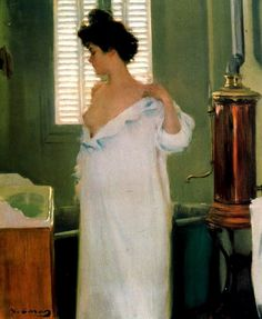 After the Bath, 1894 ~ Ramon Casas i Carbó ~ (Spanish: Ramones, Barcelona Street, Modernisme, Spanish Artists, Spanish Painters, Amazing Paintings, Vintage Artwork, Contemporary Landscape, Summer Dresses