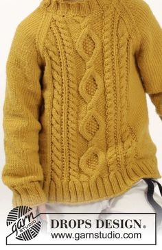 Knitted DROPS jumper with raglan and cables in Merino Extra Fine. Size years Free knitting pattern by DROPS Design. Baby Boy Crochet Blanket, Baby Boy Knitting, Knitting For Kids, Crochet Baby, Baby Patterns, Knitting Patterns Free, Afghan Patterns, Free Pattern, Crochet Patterns