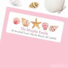 Paper goods and DIY printables for parties and holidays Mermaid Under The Sea, Under The Sea Party, Personalized Labels, Address Labels, Paper Goods, Sea Shells, Parties, Place Card Holders, Gift Wrapping