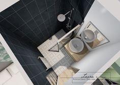 Laura Djabourian | Agencement d'une suite parentale.. Vue 3d de la salle d'eau. Carreaux de ciment au sol, meuble vasque en bois clair.
