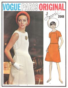 MOD Guy Laroche Dress Pattern VOGUE PARIS Original 2048 Cute Daytime or After 5 Dress Bust 32.5 Vintage Sewing Pattern
