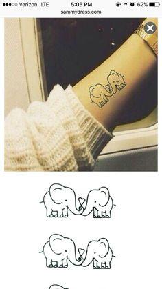 Chic Loving Cartoon Small Elephant Pattern Waterproof Tattoo Sticker For Women – Body Art Baby Elefant Tattoo, Body Art Tattoos, Small Tattoos, Tattoo Art, Tattoo Pics, Tatoo 3d, Real Tattoo, Tattoo Sticker, Freundin Tattoos