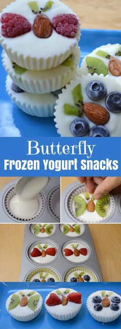 Healthy Fruity Frozen Yogurt Snacks – An easy and refreshing dessert that's good for you. A fun way to enjoy FroYo! These creamy frozen yogurt bites come with fruits shaped into butterflies. All you need is your favorite yogurt, some fruits and almonds. So delicious and so fun! Quick and easy recipe. Kids friendly. Video recipe. | Tipbuzz.com