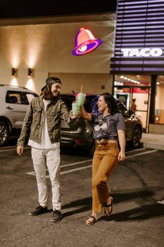 Couple Takes Engagement Photos at Taco Bell Car Engagement Photos, Engagement Couple, Wedding Engagement, Photography Website Templates, Couple Moments, Mixed Couples, Cool Poses, Customer Engagement, Interracial Couples