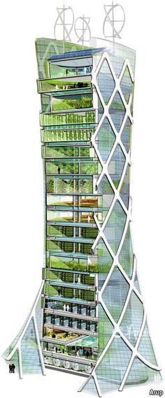 Vertical Farming - this is a way to hasten the urbanization of the U. We can grow more per sq. , use less energy (vastly lower transport costs) and have more nutritious food if we move farming indoors. Architecture Design, Green Architecture, Futuristic Architecture, Sustainable Architecture, Sustainable Design, Landscape Architecture, Landscape Design, Architecture Definition, System Architecture
