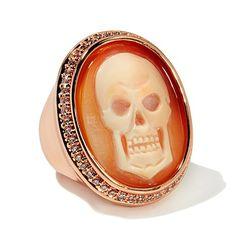 """AMEDEO """"Skeledeo"""" Rosetone Cameo Crystal Frame Ring"""