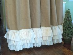 Ruffled bottom Burlap Curtain Panel by SimplyFrenchMarket on Etsy, $72.00