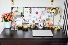 Desk styling with DIY projects, including a magnetic inspiration board. (scheduled via http://www.tailwindapp.com?ref=scheduled_pin&post=203119)