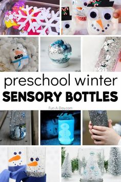 15+ winter sensory bottles for preschool and kindergarten kids. So much learning with these winter-themed calm down bottles. Feelings Activities, Early Learning Activities, Sensory Activities, Winter Activities, Activities For Kids, Sensory Bags, Preschool Teacher Tips, Preschool Lesson Plans, Preschool Themes