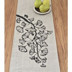Gingko Trail Linen Table Runner Multi Sizes by celineandkate Fabric Painting, Fabric Art, Fabric Design, Hand Printed Fabric, Printing On Fabric, Textile Prints, Textile Art, Fabric Stamping, Painted Clothes