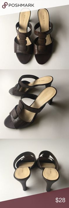 Brown leather sandals Brown leather strappy heeled sandals. Small amount of wear on bottom. Tops are great condition Nine West Shoes Sandals