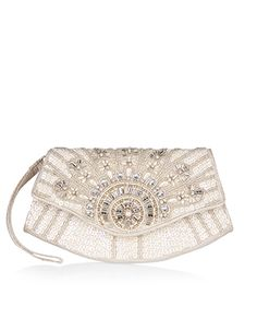 Cora Curve Beaded Clutch Bag