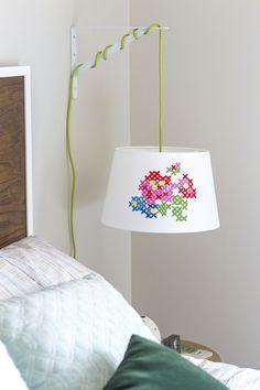 DIY Painted Cross Stitch Lamp Shade   Dream Green DIY