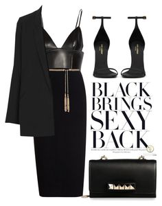 """""""Total Black"""" by justvel ❤ liked on Polyvore featuring Rick Owens, T By Alexander Wang, Yves Saint Laurent, Valentino, Forever New and Topshop"""