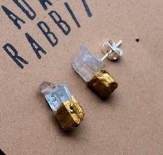 Gold & Raw Quartz Chunk Earrings Geo Earrings Rock by AdamRabbit