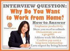 "One question that nearly every hiring manager will want answered is ""Why do you want to work from home?"" Your reply could mean the difference between landing your first work-at-home job or heading back to that trusted job search website to look for another #telecommute #job. Click to read more about how to answer this tricky interview question!"