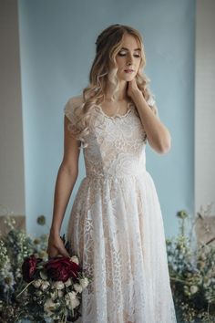 Hazel gown by Elizabeth Cooper Design | Photo by Cassandra Farley Photography | modest wedding dress | wedding dress with sleeves | ballgown | aline | sheath | lace wedding dress | wedding gown | lace | blush wedding dress | modest |