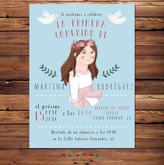 First Communion invitations portrait custom by PaulaHurtadoIlustra First Communion Invitations, Digital Portrait, Original Image, All Design, Special Day, Digital Prints, Custom Design, Canary Islands, Etsy