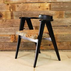 Living room: MidCentury Wood Side Chair // Black Painted by independencevintage, $95.00-- Change fabric