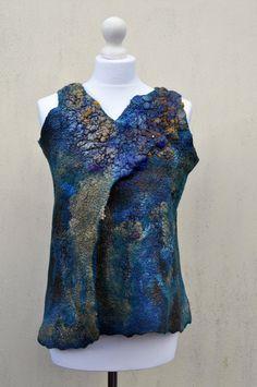 Vest felted felt wool silk fibre art gift by AleksandrabWiniarska