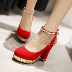Women's Shoes Leatherette Chunky Heel Heels / Round Toe Heels Wedding / Office & Career / Casual Black / Blue / Red/F-30 2018 - €29.35