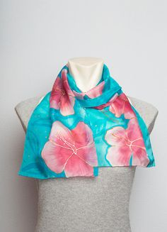 Unique Hand Painted Real Silk Hawaii Scarf with by LigaKandele