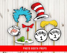 Dr. Seuss Photo Booth Props Birthday Party by SunnyGoesSunny