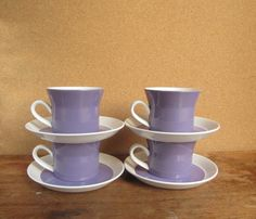 Vintage Mikasa Ben Seibel Cups and Saucers Not sure how I missed the fact that Duplex came in lavender?