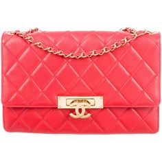 Pre-owned Chanel 2015 Golden Class Large Flap Bag (192.525 RUB) ❤ liked on Polyvore featuring bags, handbags, red, quilted handbags, chanel purse, man bag, locking purse and chanel