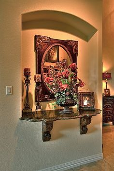Wall Niche Decor window treatments for tuscan design | firerock tuscan carson14