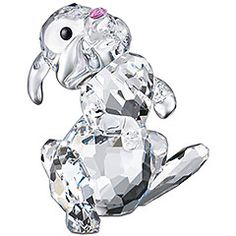 Thumper    Bambi's friend Thumper rabbit hops along. His beautiful body shines in faceted clear crystal, his nose sparkles in Rose crystal and his eyes gleam in Jet crystal. © Disney    Article no.: 943597  Size: 1 3/4 x 2 inch    $ 150.00